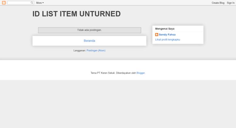 Access unturneditemlist blogspot cz  ID LIST ITEM UNTURNED