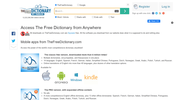Access up.thefreedictionary.com. Access The Free Dictionary from