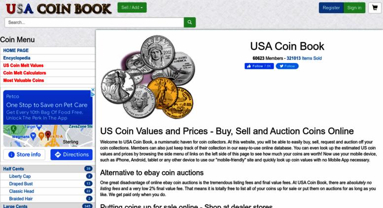Access usacoinbook com  USA Coin Book - US Coin Values and