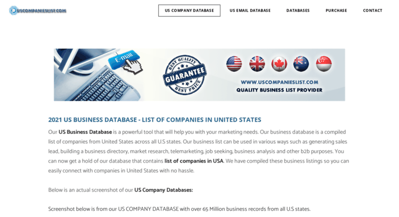 Access usadatabase info  GLOBAL COMPANIES LIST - USA