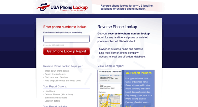 Access usaphonelookup com  Reverse phone lookup any landline