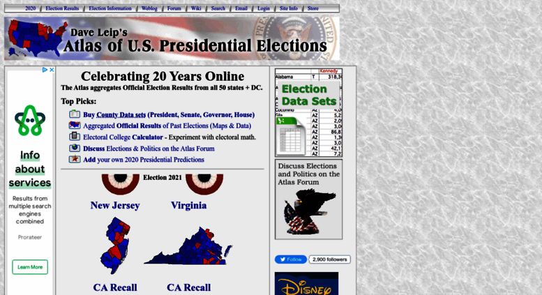 Access uselectionatlas.org. Dave Leip\'s Atlas of U.S. ...