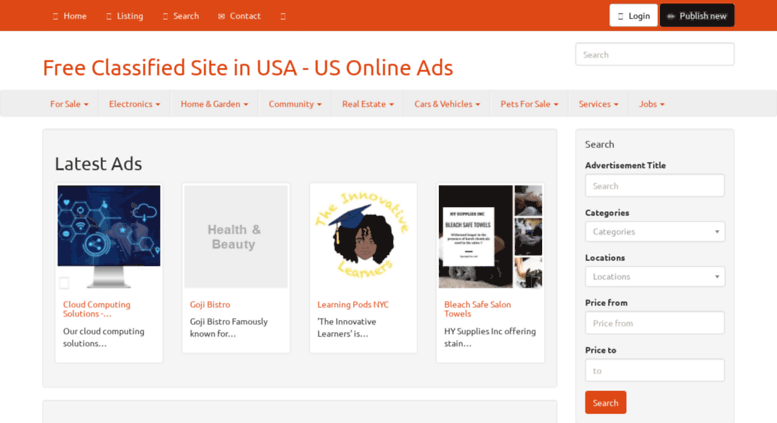 Access usonlineads com  Free Classified Site in USA - US