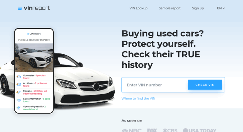 Access vinreport io  Order a car history report and get