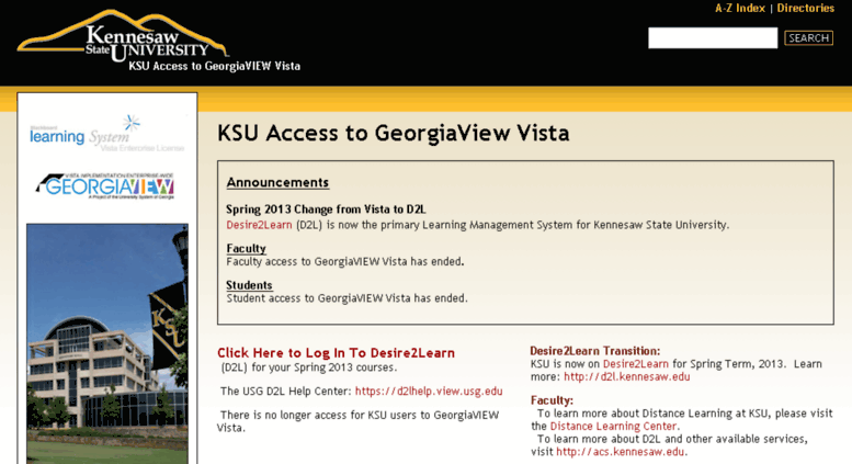 Access Vista Kennesaw Edu Ksu Access To Georgiaview Vista Ksu