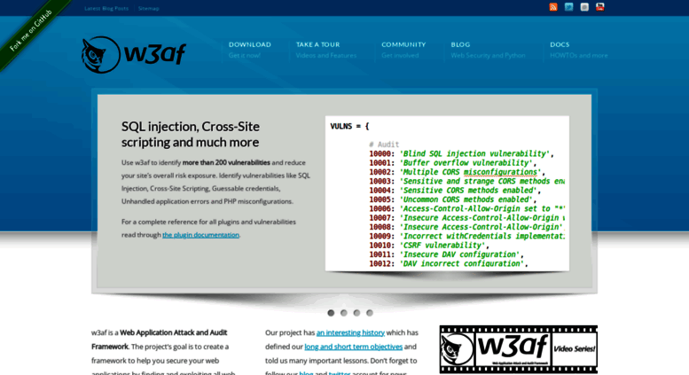 Access w3af org  w3af - Open Source Web Application Security