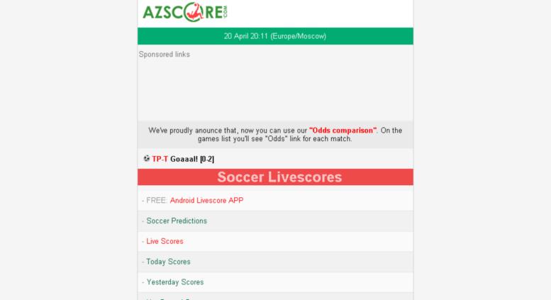 Access wap fscores com  Livescore today, mobile livescore, fscore