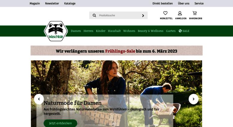 cecb59abb46b3c Access waschbaer.de. Umweltversand für Naturmode   Bioprodukte ...