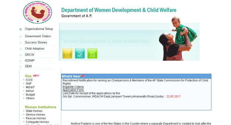 Access wdcw ap nic in  Women Development & Child Welfare Dept