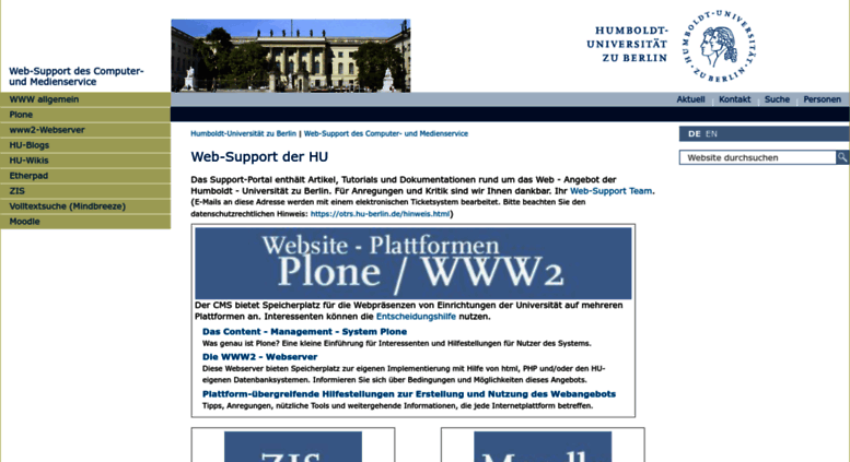 Access Web Support Hu Berlin De Web Support Der Hu Web