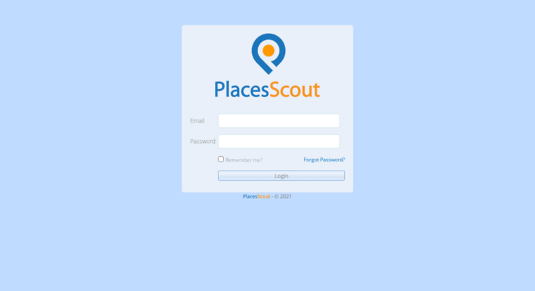 Access web.placesscout.com. Login - Places Scout