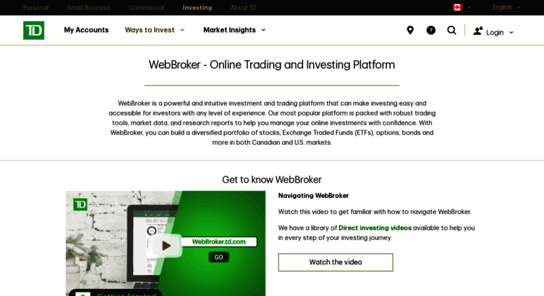Access webbroker td com  WebBroker - TD Direct Investing