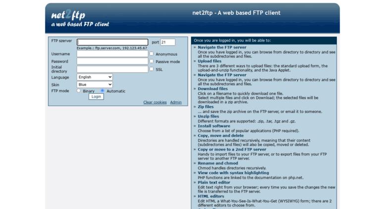 Access webftp webidea hu  net2ftp - a web based FTP client