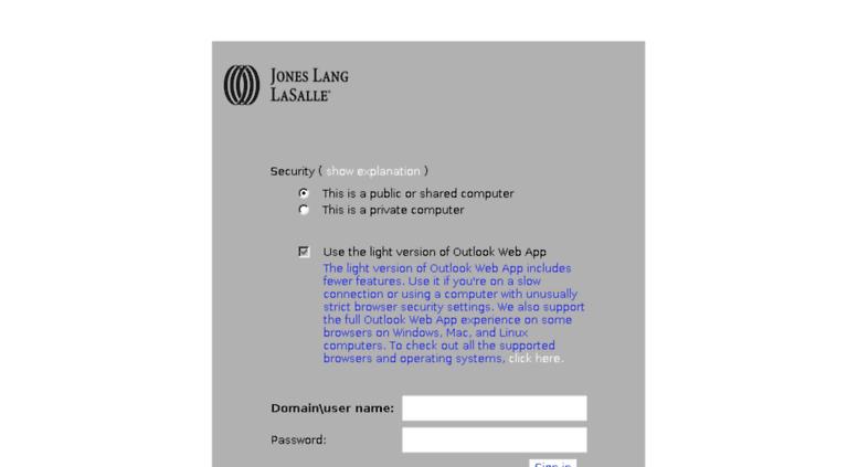 Access webmail am joneslanglasalle com  Outlook