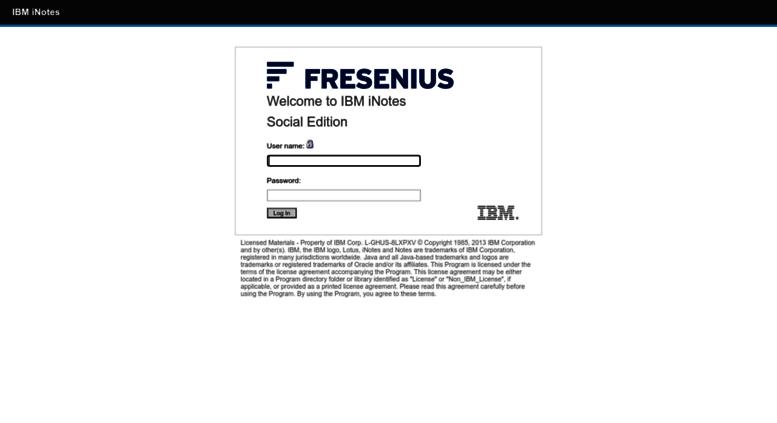 Access webmail fresenius de  IBM iNotes Login