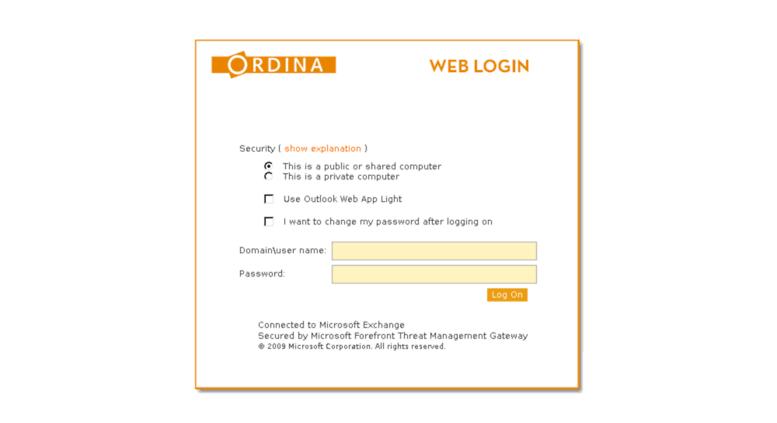 Access webmail ordina nl  Outlook Web App