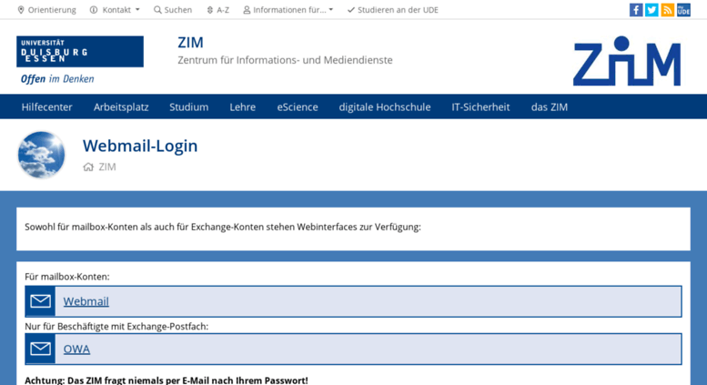 Access webmail.uni-due.de. Webmail-Login