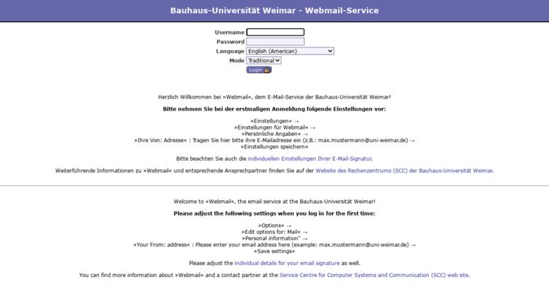 Access Webmail Uni Weimar De Bauhaus Universitat Weimar