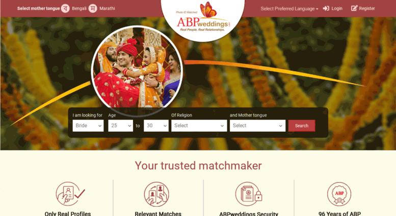Access website abpweddings com  Bengali Matrimony Site