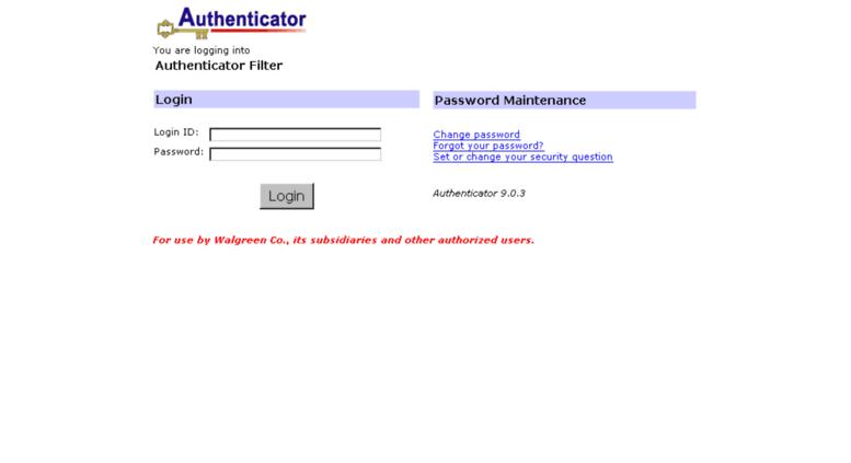 Access websites walgreens com  Authenticator Filter Maintenance