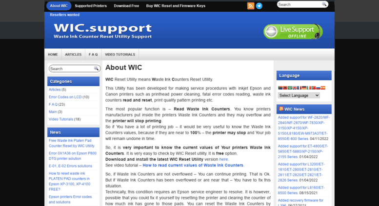Access wic support  Download WIC Resetter Free  Reset Epson