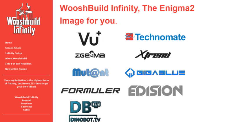 Access wooshbuild co uk  WooshBuild Infinity, an Enigma2