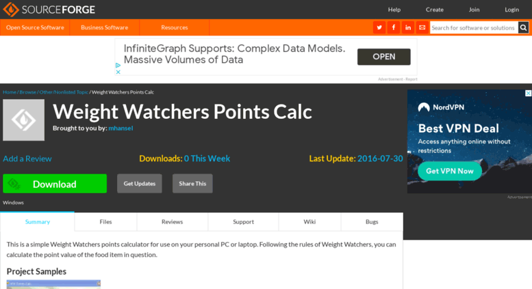 Access wwpointscalc sourceforge net  Weight Watchers Points Calc