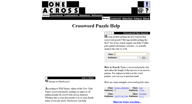Access www3 oneacross com  One Across - Search for Crossword Puzzle