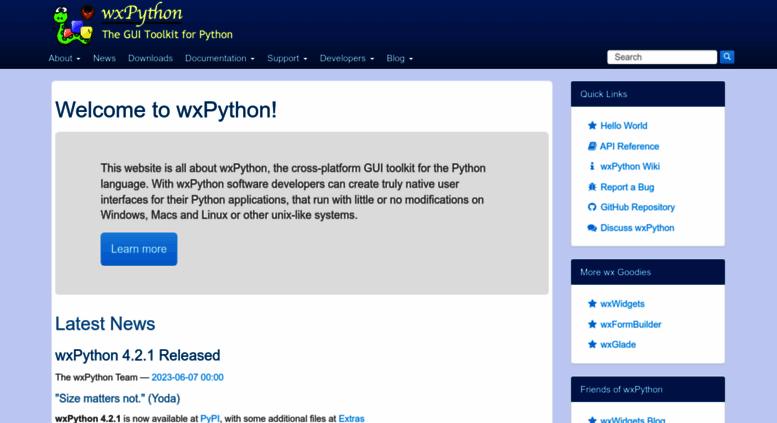 Access wxpython org  Welcome to wxPython! | wxPython