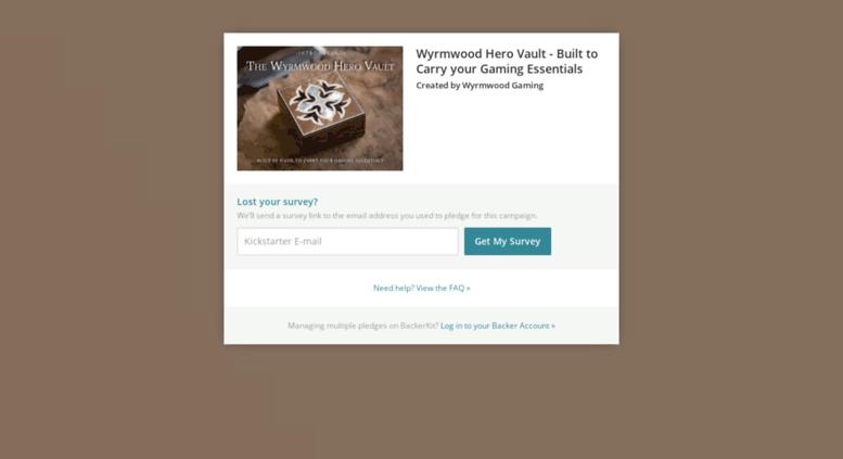 Access wyrmwood-hero-vault backerkit com  BackerKit Pledge