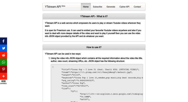 Access ytapi gitnol com  YTstream API - Stream or Play